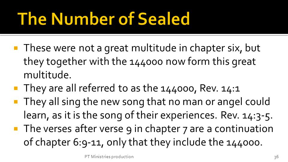 These were not a great multitude in chapter six, but they together with the 144000 now form this great multitude.