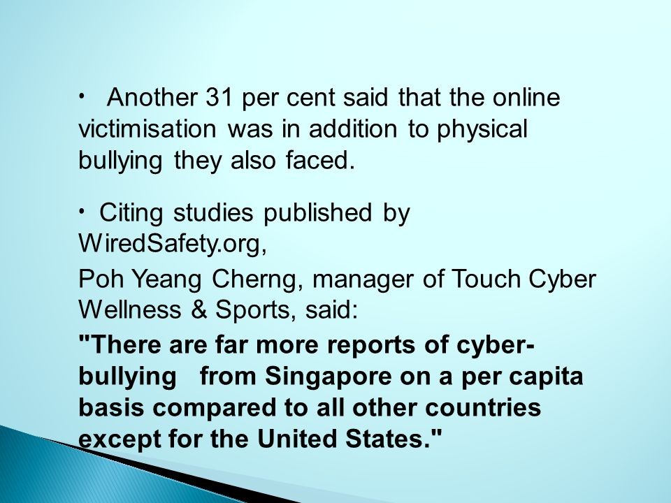 Another 31 per cent said that the online victimisation was in addition to physical bullying they also faced.