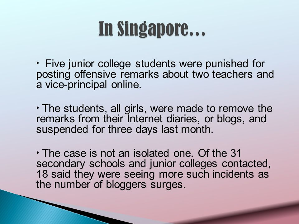 Five junior college students were punished for posting offensive remarks about two teachers and a vice-principal online.