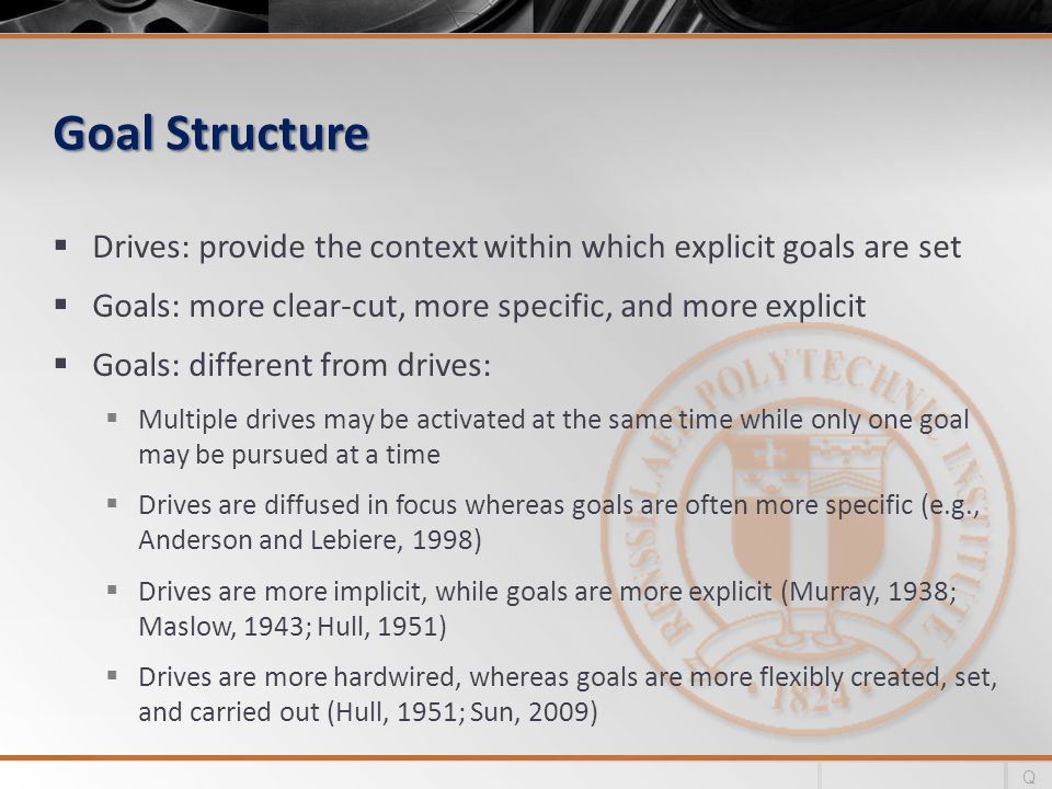Goal Structure Drives: provide the context within which explicit goals are set Goals: more clear-cut, more specific, and more explicit Goals: different from drives: Multiple drives may be activated at the same time while only one goal may be pursued at a time Drives are diffused in focus whereas goals are often more specific (e.g., Anderson and Lebiere, 1998) Drives are more implicit, while goals are more explicit (Murray, 1938; Maslow, 1943; Hull, 1951) Drives are more hardwired, whereas goals are more flexibly created, set, and carried out (Hull, 1951; Sun, 2009) Q
