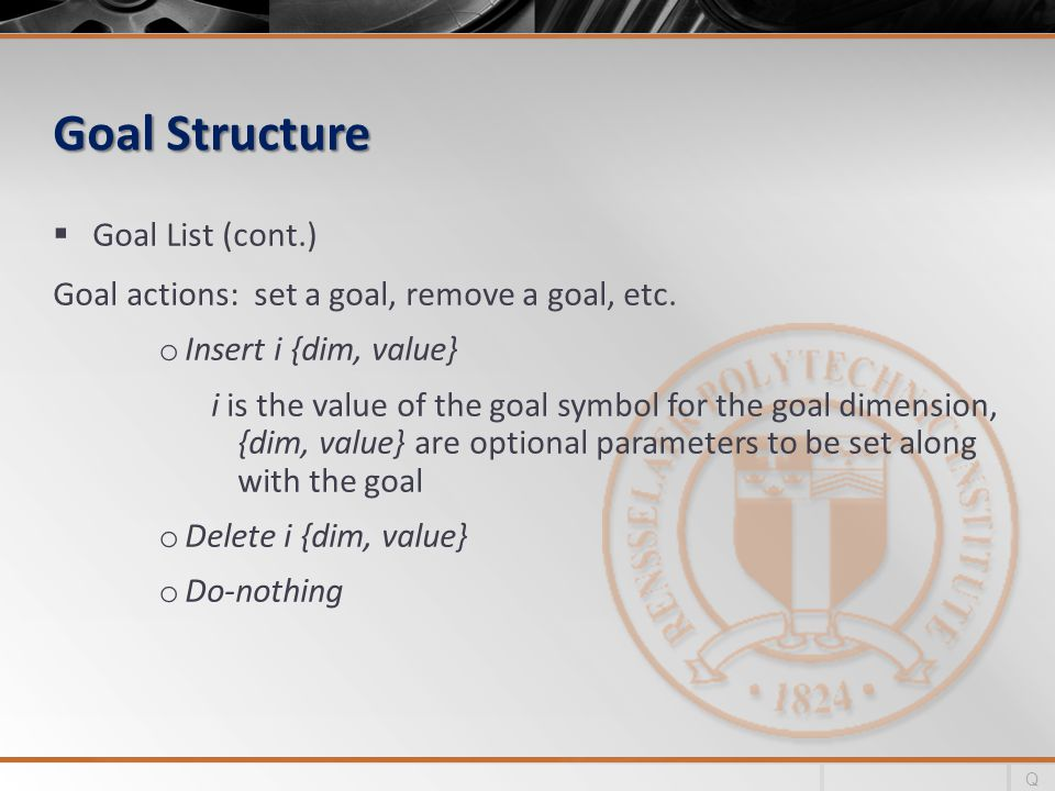 Goal Structure Goal List (cont.) Goal actions: set a goal, remove a goal, etc. o Insert i {dim, value} i is the value of the goal symbol for the goal