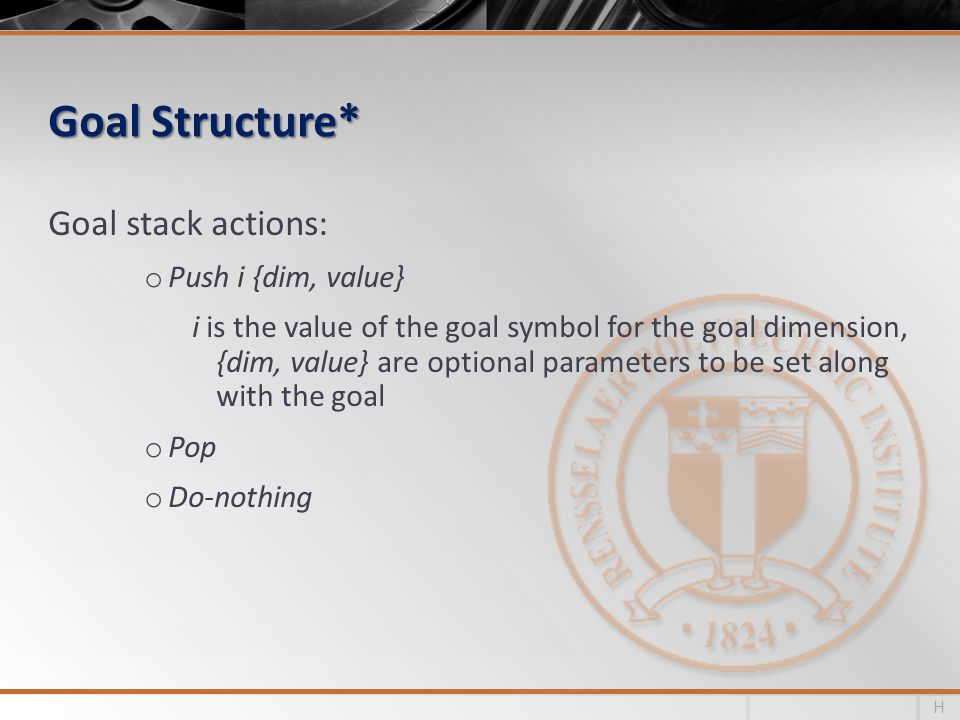 Goal Structure* Goal stack actions: o Push i {dim, value} i is the value of the goal symbol for the goal dimension, {dim, value} are optional parameters to be set along with the goal o Pop o Do-nothing H
