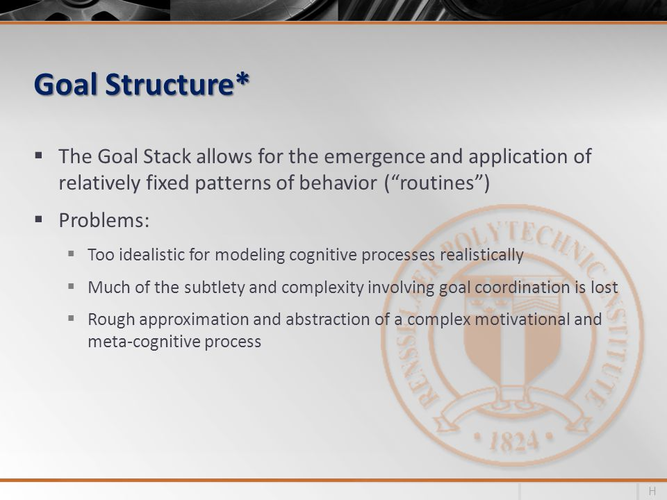 Goal Structure* The Goal Stack allows for the emergence and application of relatively fixed patterns of behavior (routines) Problems: Too idealistic for modeling cognitive processes realistically Much of the subtlety and complexity involving goal coordination is lost Rough approximation and abstraction of a complex motivational and meta-cognitive process H