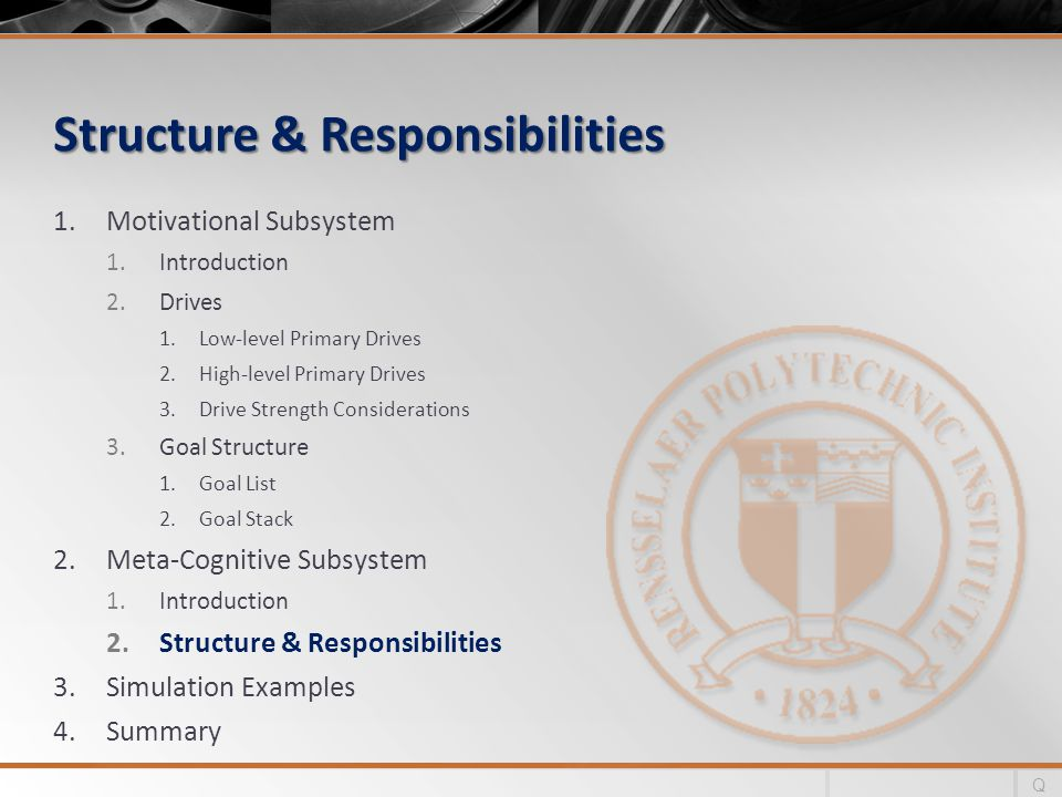 Structure & Responsibilities 1.Motivational Subsystem 1.Introduction 2.Drives 1.Low-level Primary Drives 2.High-level Primary Drives 3.Drive Strength Considerations 3.Goal Structure 1.Goal List 2.Goal Stack 2.Meta-Cognitive Subsystem 1.Introduction 2.Structure & Responsibilities 3.Simulation Examples 4.Summary Q