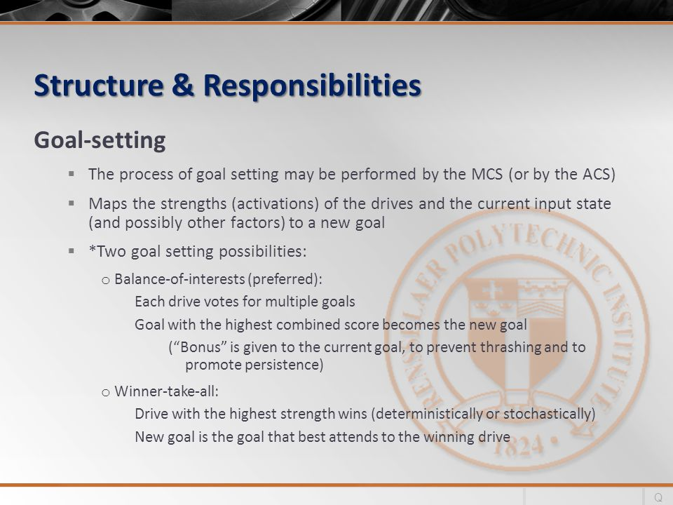 Structure & Responsibilities Goal-setting The process of goal setting may be performed by the MCS (or by the ACS) Maps the strengths (activations) of the drives and the current input state (and possibly other factors) to a new goal *Two goal setting possibilities: o Balance-of-interests (preferred): Each drive votes for multiple goals Goal with the highest combined score becomes the new goal (Bonus is given to the current goal, to prevent thrashing and to promote persistence) o Winner-take-all: Drive with the highest strength wins (deterministically or stochastically) New goal is the goal that best attends to the winning drive Q