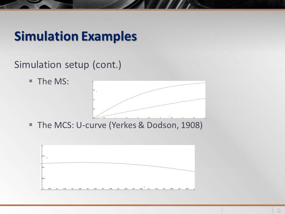 Simulation Examples Simulation setup (cont.) The MS: The MCS: U-curve (Yerkes & Dodson, 1908) Q