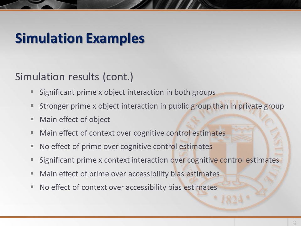 Simulation Examples Simulation results (cont.) Significant prime x object interaction in both groups Stronger prime x object interaction in public group than in private group Main effect of object Main effect of context over cognitive control estimates No effect of prime over cognitive control estimates Significant prime x context interaction over cognitive control estimates Main effect of prime over accessibility bias estimates No effect of context over accessibility bias estimates Q