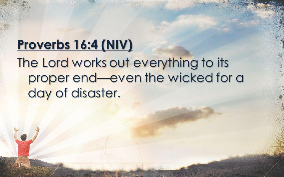 Proverbs 16:4 (NIV) The Lord works out everything to its proper endeven the wicked for a day of disaster.