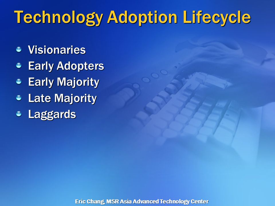 Eric Chang, MSR Asia Advanced Technology Center Technology Adoption Lifecycle Visionaries LateMajorityEarlyAdopterLaggardsEarlyMajority