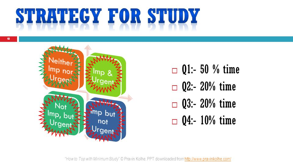 Q1:- 50 % time Q2:- 20% time Q3:- 20% time Q4:- 10% time 48 How to Top with Minimum Study © Pravin Kolhe. PPT downloaded from http://www.pravinkolhe.c