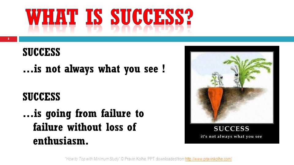 Success= (Intelligence) × (Hard work) × (Attitude) 6 Would you like me to give you a formula for success.