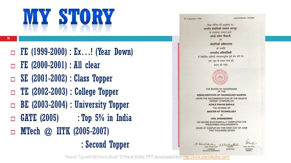 75 FE (1999-2000) : Ex…! (Year Down) FE (2000-2001) : All clear SE (2001-2002) : Class Topper TE (2002-2003) : College Topper BE (2003-2004) : Univers