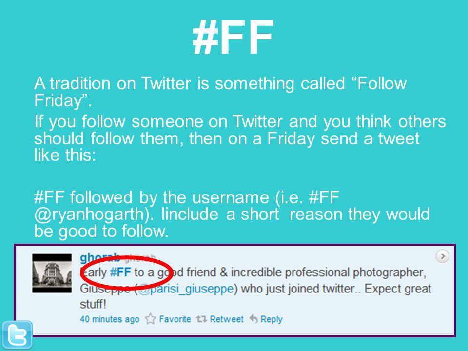 #FF A tradition on Twitter is something called Follow Friday.