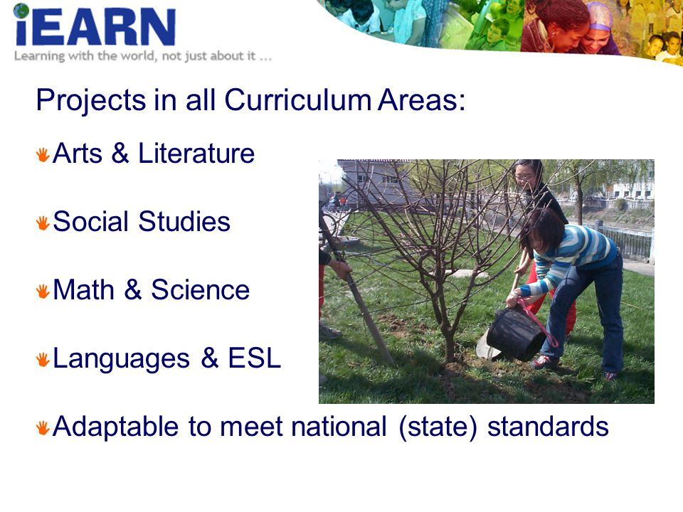 Projects in all Curriculum Areas: Arts & Literature Social Studies Math & Science Languages & ESL Adaptable to meet national (state) standards