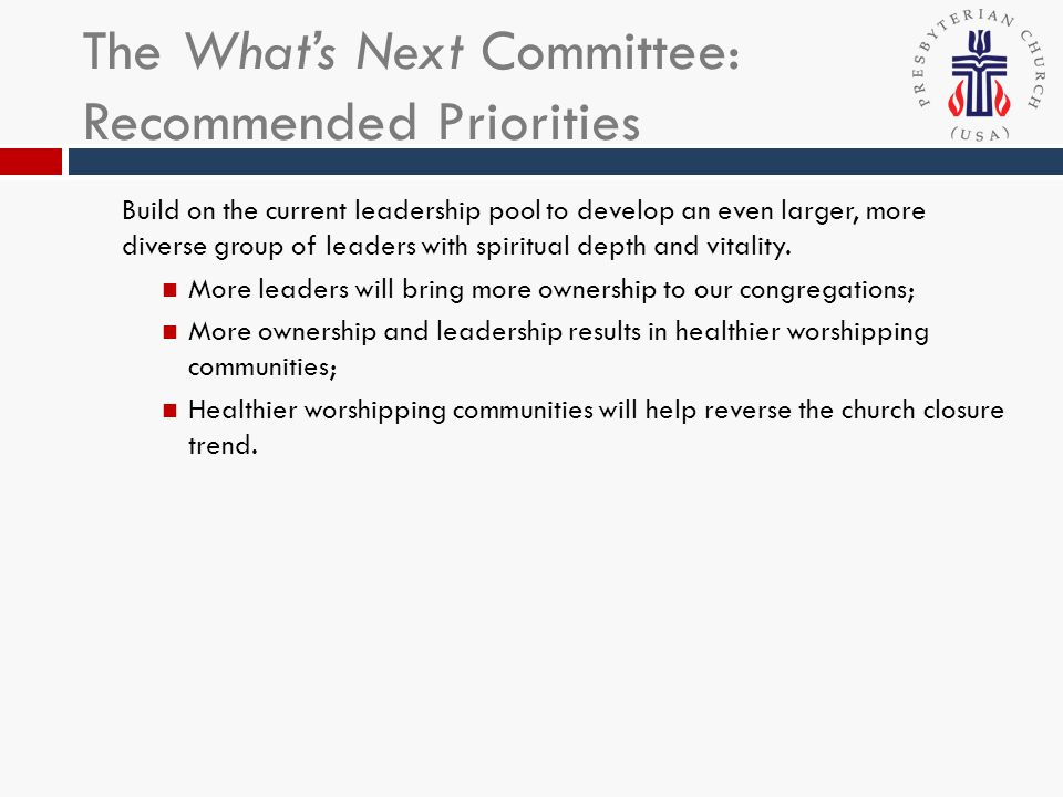 The Whats Next Committee: Recommended Priorities Create two or more new worshipping communities that address the current identified needs of those in our area: Growth of the Hispanic/Latino population; Geographic diversification to bring worship communities to areas that are currently underserved.