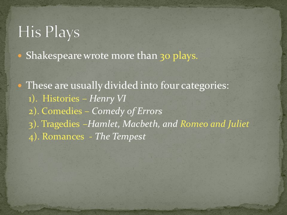 Shakespeare wrote more than 30 plays. These are usually divided into four categories: 1). Histories – Henry VI 2). Comedies – Comedy of Errors 3). Tra