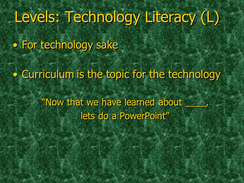Levels: Technology Literacy (L) For technology sake Curriculum is the topic for the technology Now that we have learned about ____, lets do a PowerPoint For technology sake Curriculum is the topic for the technology Now that we have learned about ____, lets do a PowerPoint