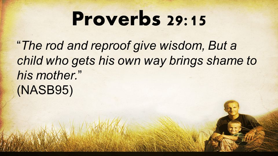 Proverbs 29:15 The rod and reproof give wisdom, But a child who gets his own way brings shame to his mother.