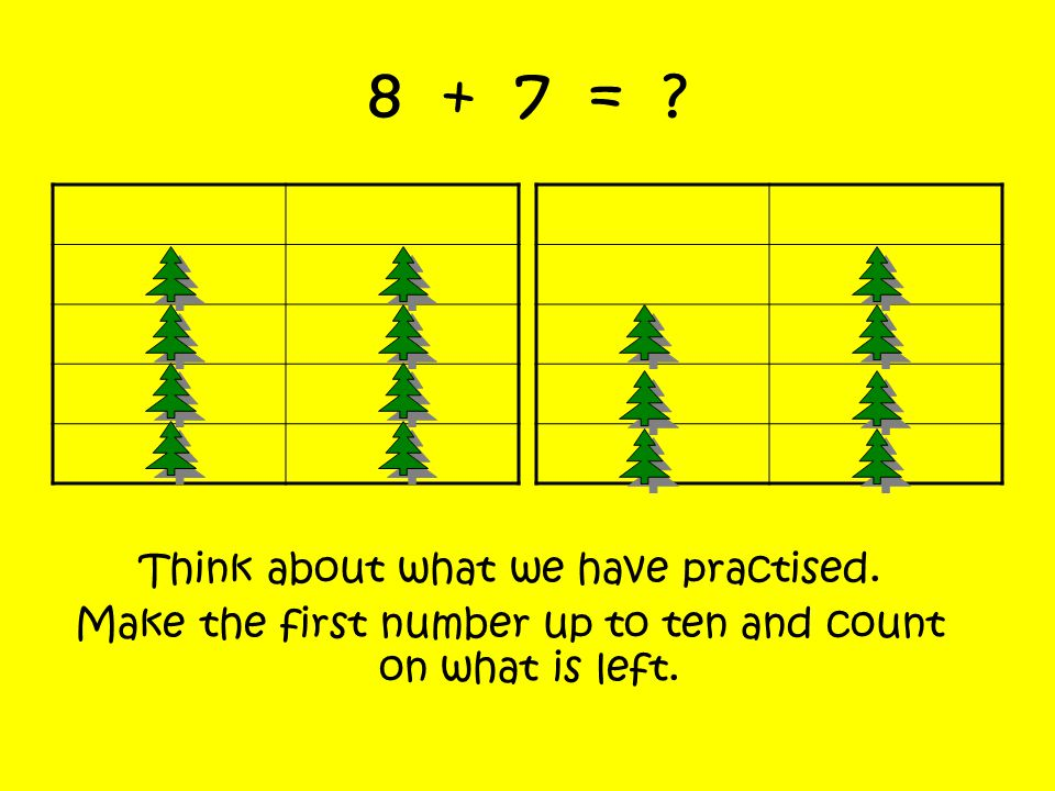 8 + 7 = .Think about what we have practised.