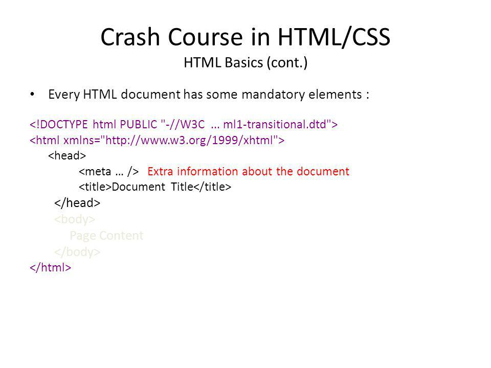 Crash Course in HTML/CSS HTML Basics (cont.) Every HTML document has some mandatory elements : Extra information about the document Document Title Pag