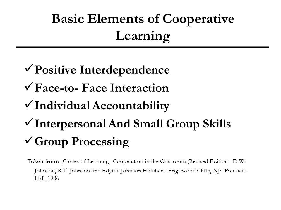 Basic Elements of Cooperative Learning Positive Interdependence Face-to- Face Interaction Individual Accountability Interpersonal And Small Group Skil