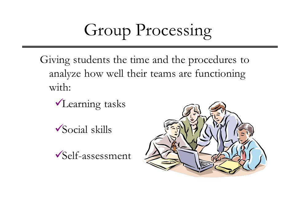 Group Processing Giving students the time and the procedures to analyze how well their teams are functioning with: Learning tasks Social skills Self-a