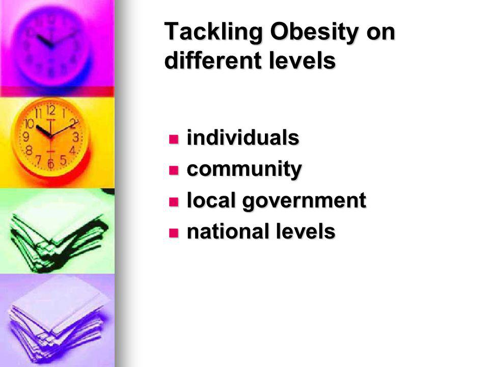 Tackling Obesity on different levels individuals individuals community community local government local government national levels national levels