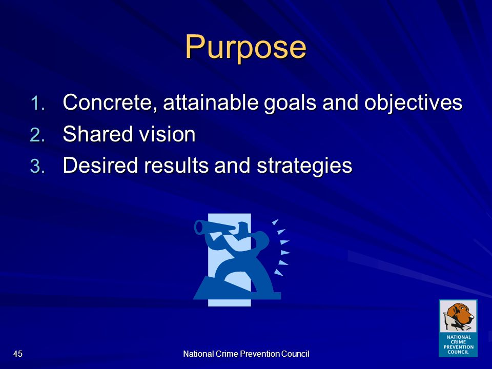 National Crime Prevention Council45 Purpose 1. Concrete, attainable goals and objectives 2.