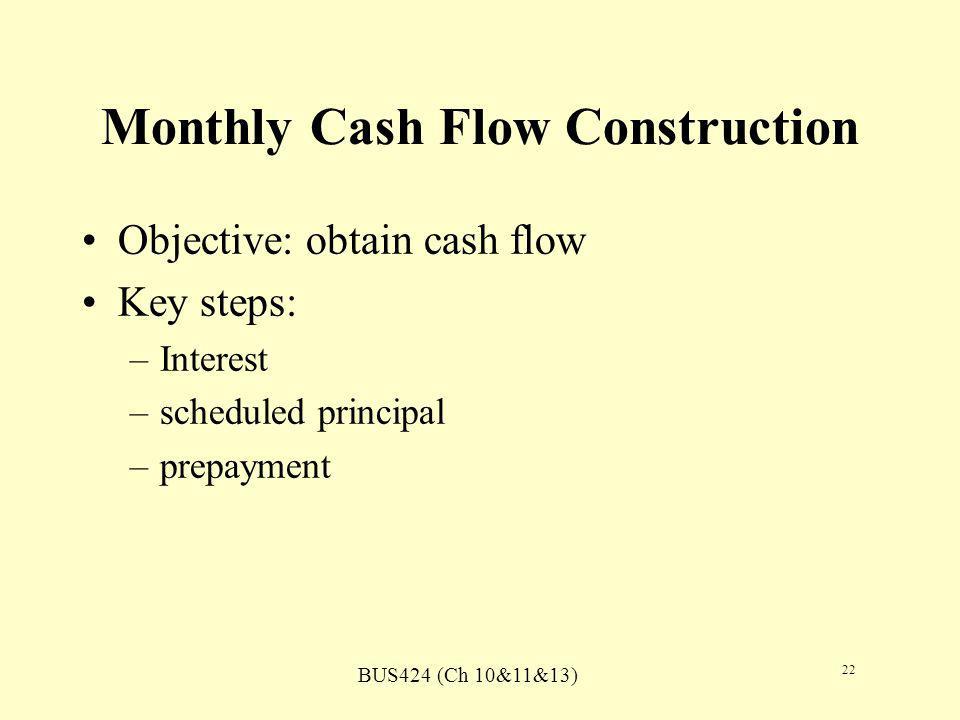 BUS424 (Ch 10&11&13) 22 Monthly Cash Flow Construction Objective: obtain cash flow Key steps: –Interest –scheduled principal –prepayment