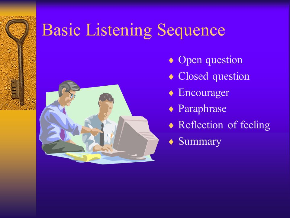 Basic Listening Sequence Open question Closed question Encourager Paraphrase Reflection of feeling Summary