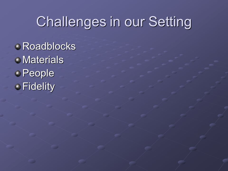 Challenges in our Setting RoadblocksMaterialsPeopleFidelity
