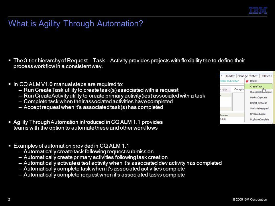 © 2009 IBM Corporation2 What is Agility Through Automation.