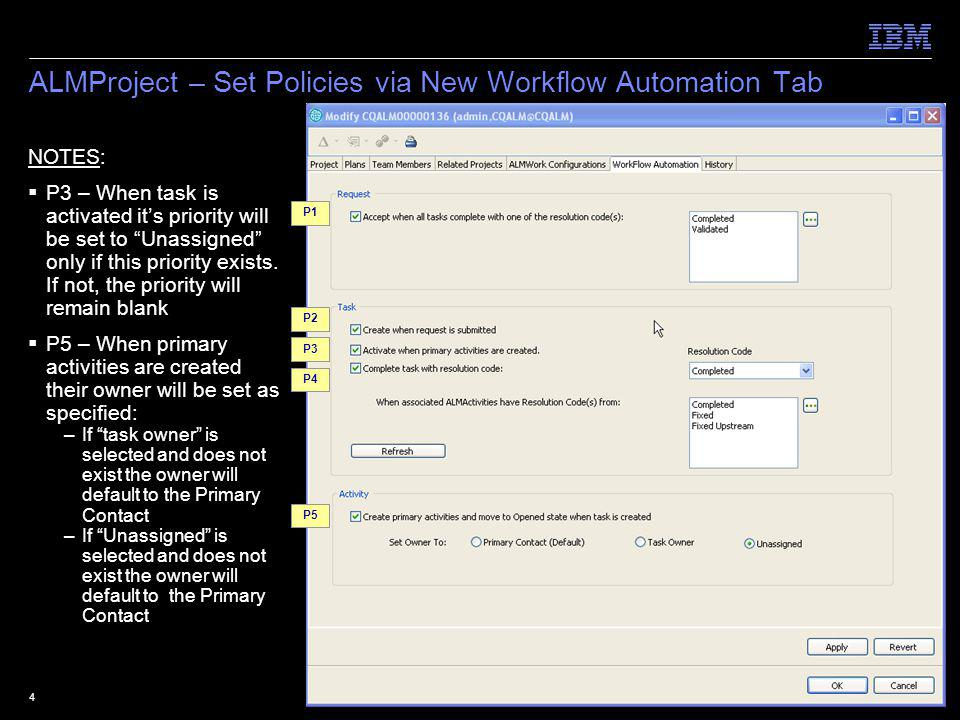 © 2009 IBM Corporation5 ALMWorkConfiguration– Set Policies via New Workflow Automation Tab NOTES: P6 –For ALMRequest work configurations predecessors/ successors will be ALMTask types –For ALMTask work configurations predecessors/ successors will be ALMActivity types –For ALMActivity work configurations workflow automation can not be set P10 – Only enforced for tasks and activities created after upgrading to CQ ALM 1.1 P6 P7 P8 P9 P10 P9a