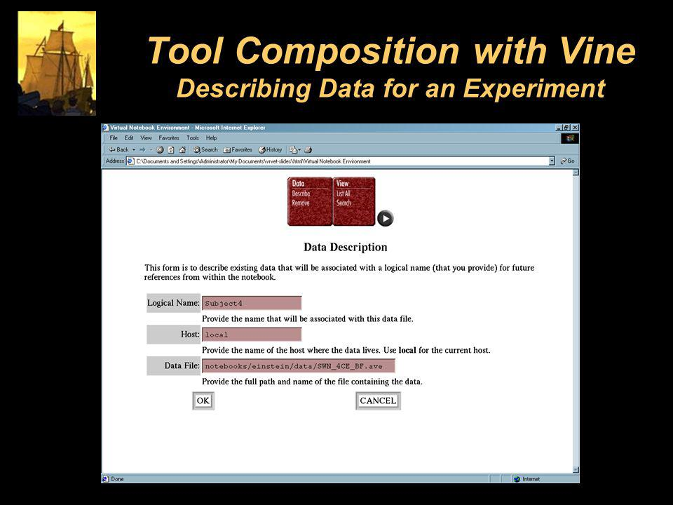 Tool Composition with Vine Describing Data for an Experiment