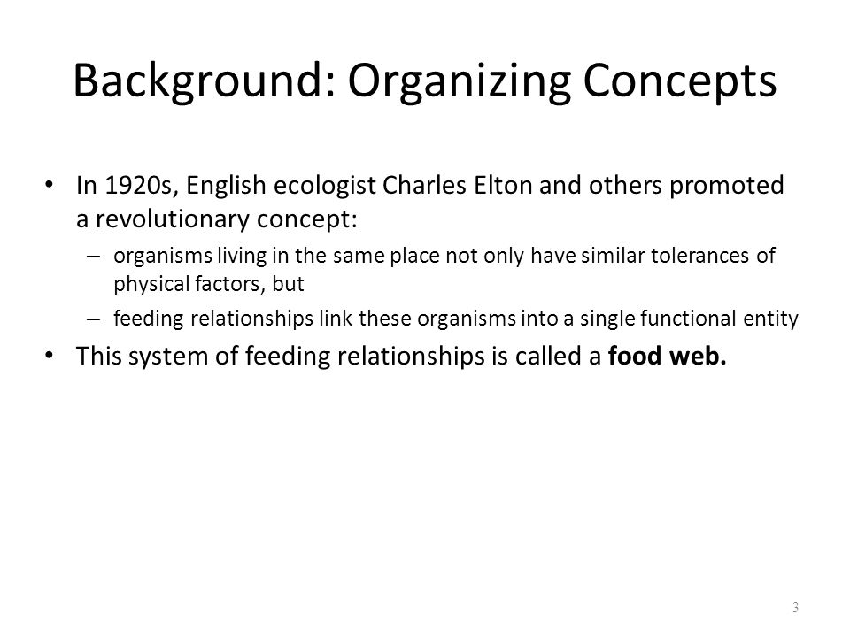Background: Organizing Concepts In 1920s, English ecologist Charles Elton and others promoted a revolutionary concept: – organisms living in the same