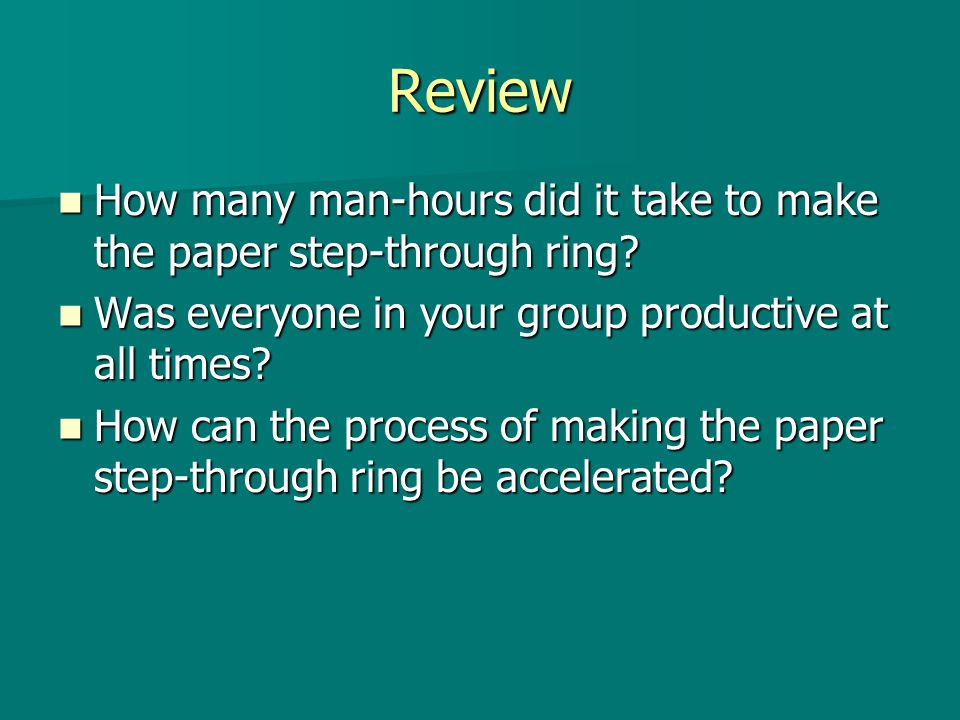 Review How many man-hours did it take to make the paper step-through ring? How many man-hours did it take to make the paper step-through ring? Was eve