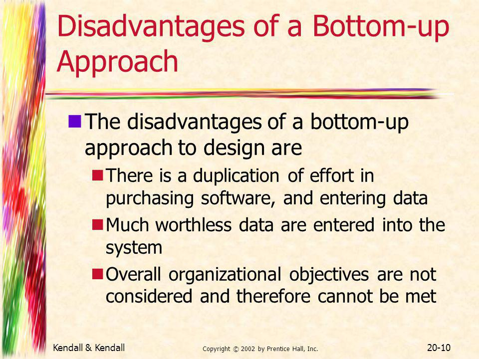 Kendall & Kendall Copyright © 2002 by Prentice Hall, Inc. 20-10 Disadvantages of a Bottom-up Approach The disadvantages of a bottom-up approach to des