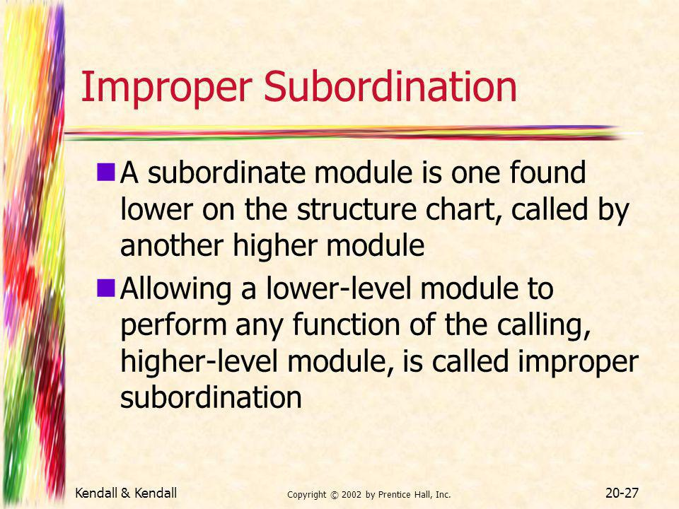 Kendall & Kendall Copyright © 2002 by Prentice Hall, Inc. 20-27 Improper Subordination A subordinate module is one found lower on the structure chart,
