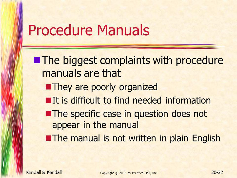 Kendall & Kendall Copyright © 2002 by Prentice Hall, Inc. 20-32 Procedure Manuals The biggest complaints with procedure manuals are that They are poor