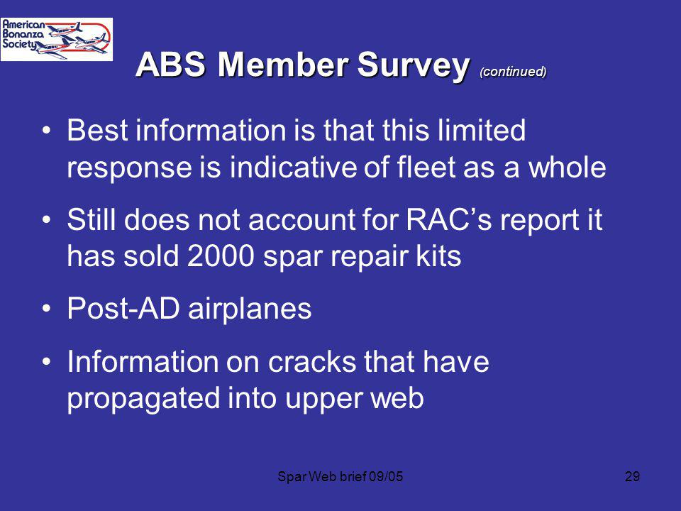 Spar Web brief 09/0529 ABS Member Survey ( continued ) Best information is that this limited response is indicative of fleet as a whole Still does not account for RACs report it has sold 2000 spar repair kits Post-AD airplanes Information on cracks that have propagated into upper web