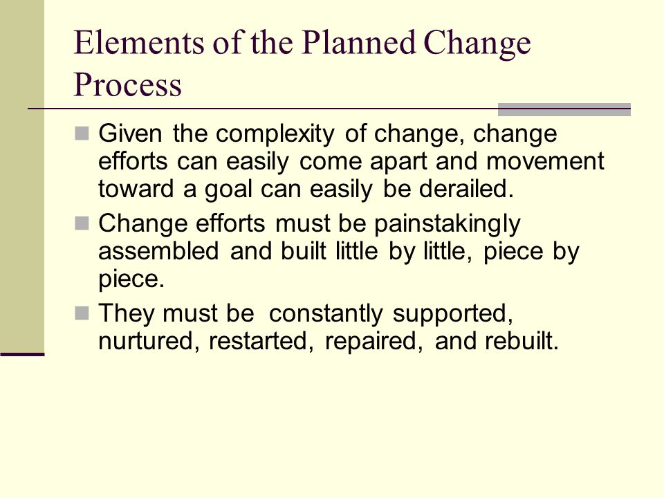 Elements of the Planned Change Process An intervention will usually have both expected and unexpected outcomes.