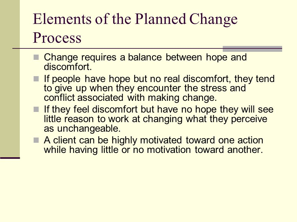 The Context of Planned Change Guidelines for social work practice: The social worker must give primary attention to the clients problem or concern as it is defined, perceived, and experienced by the client.