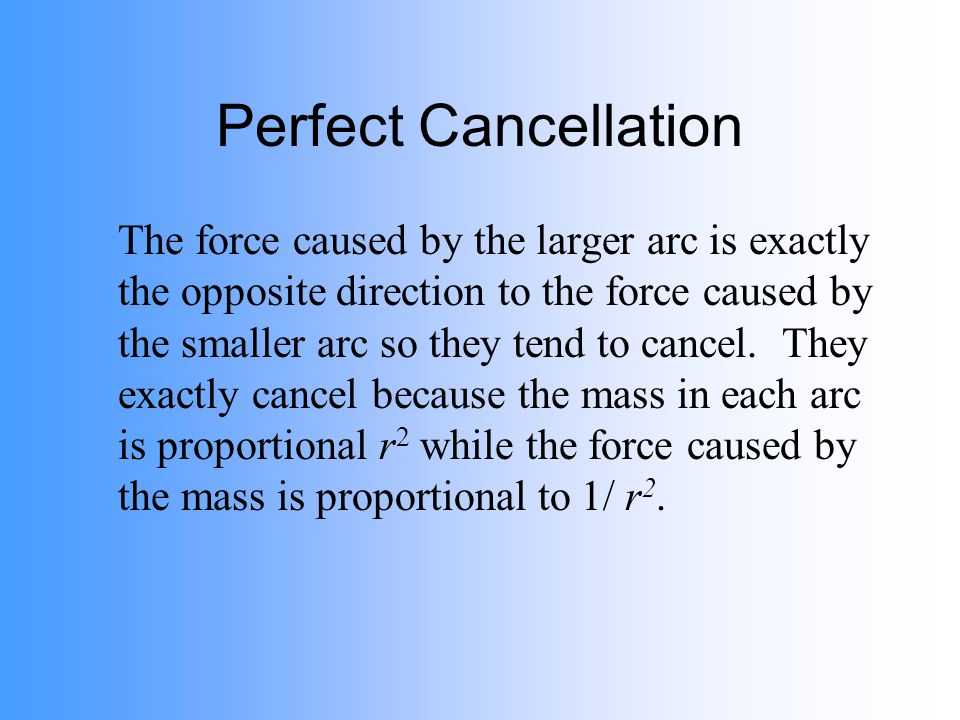 Perfect Cancellation The force caused by the larger arc is exactly the opposite direction to the force caused by the smaller arc so they tend to cance