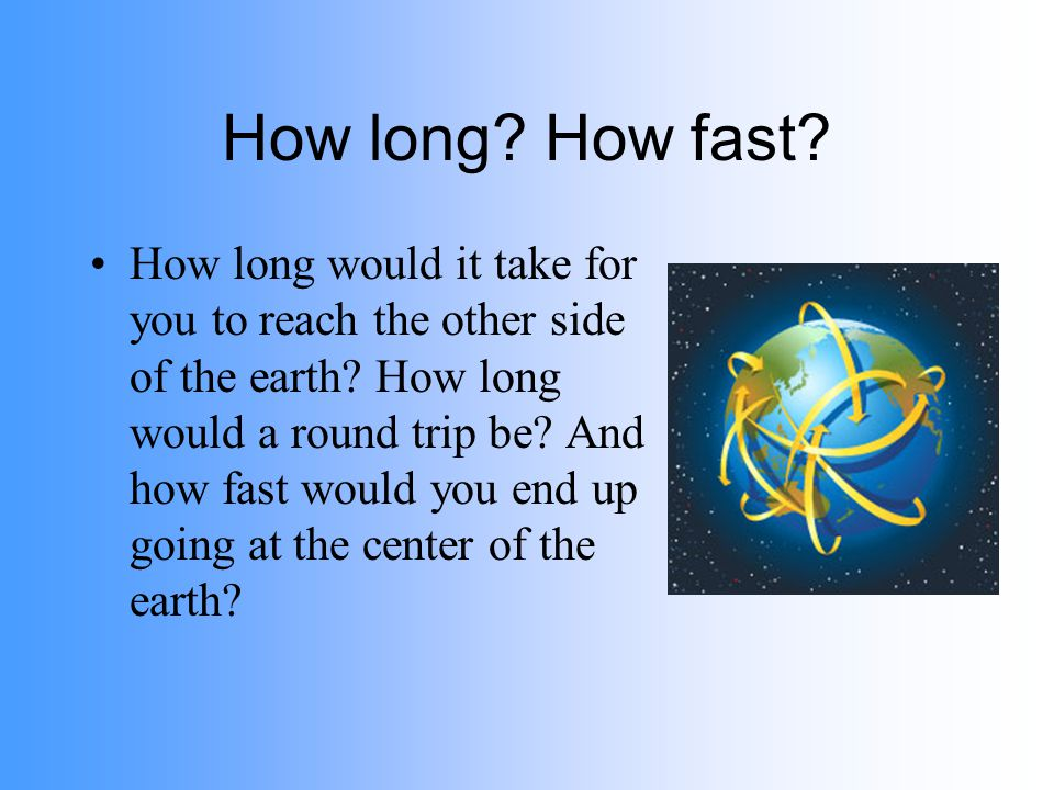 How long? How fast? How long would it take for you to reach the other side of the earth? How long would a round trip be? And how fast would you end up