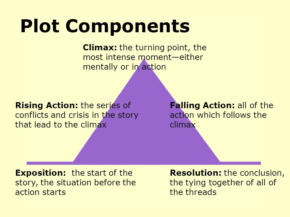 Plot Components Exposition: the start of the story, the situation before the action starts Rising Action: the series of conflicts and crisis in the st