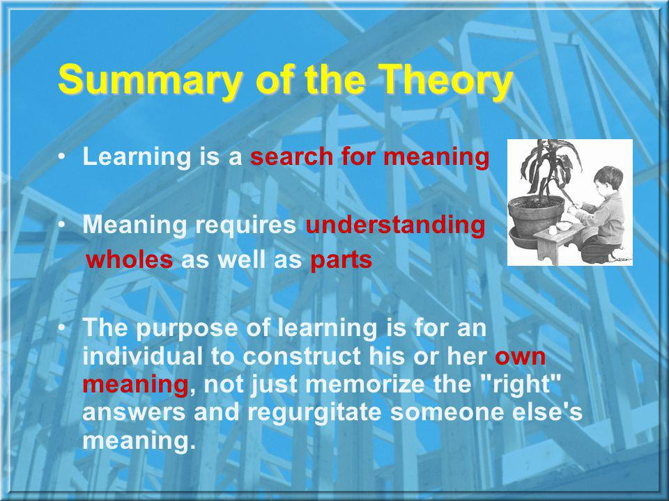 Summary of the Theory Learning is a search for meaning Meaning requires understanding wholes as well as parts The purpose of learning is for an individual to construct his or her own meaning, not just memorize the right answers and regurgitate someone else s meaning.