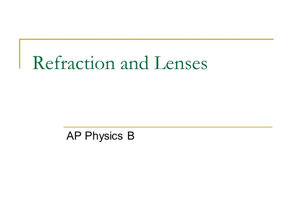 Refraction and Lenses AP Physics B