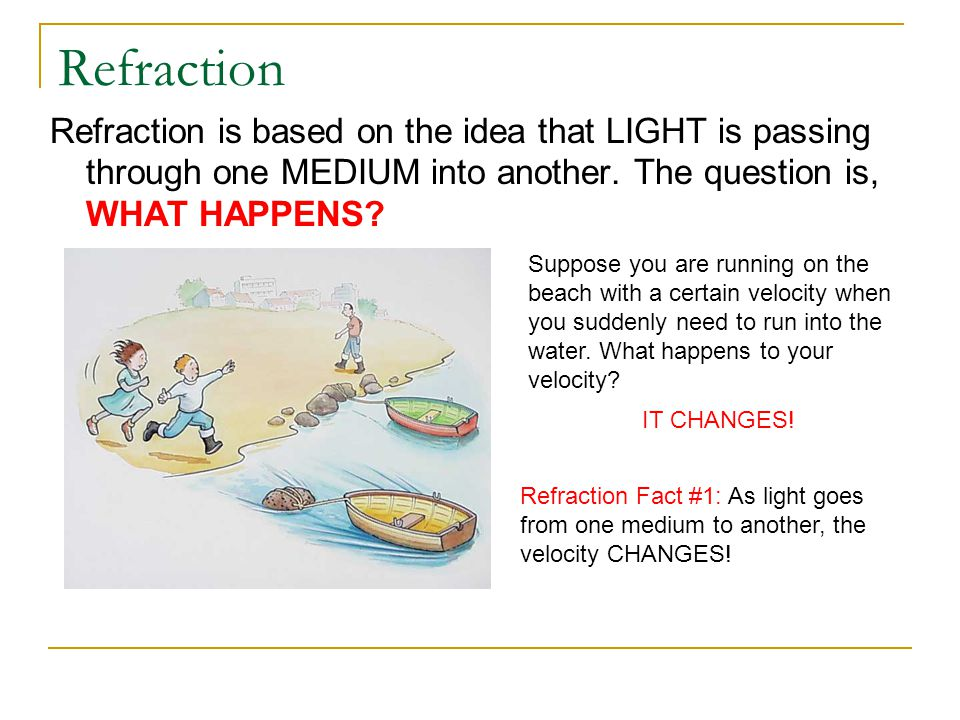 Refraction Refraction is based on the idea that LIGHT is passing through one MEDIUM into another. The question is, WHAT HAPPENS? Suppose you are runni