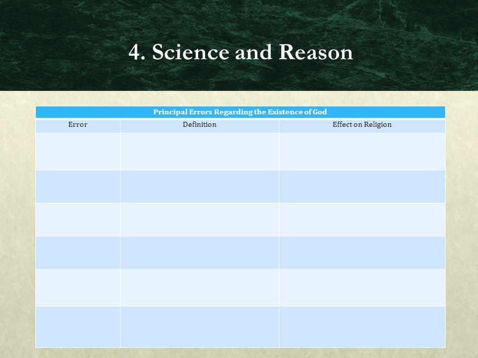 Principal Errors Regarding the Existence of God ErrorDefinitionEffect on Religion