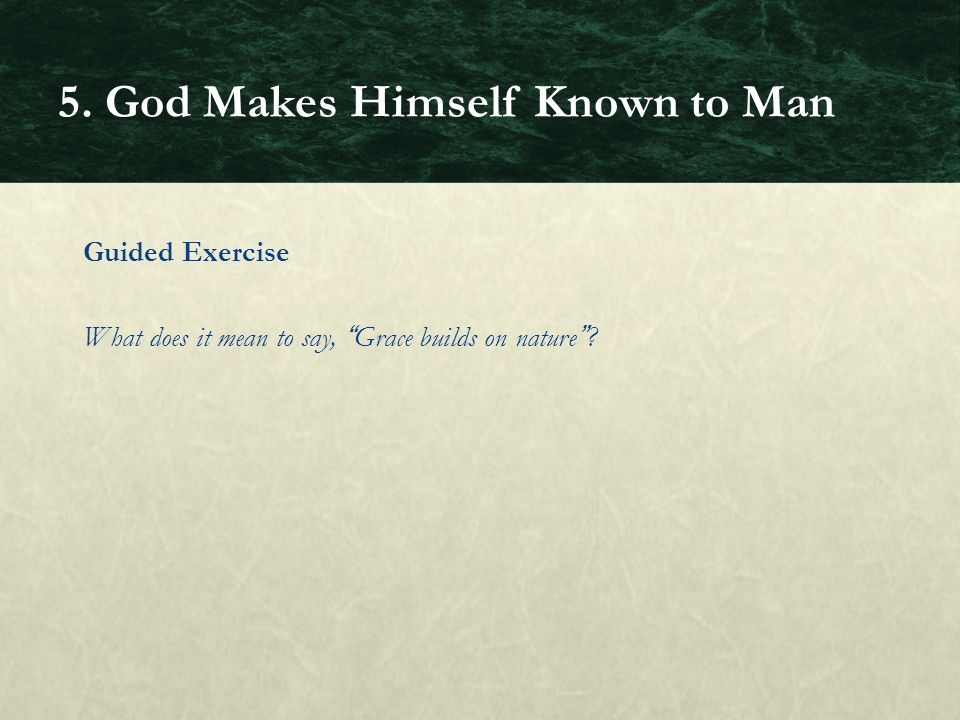 Guided Exercise What does it mean to say, Grace builds on nature? 5. God Makes Himself Known to Man